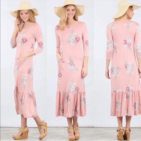 8037e24adde2 Red Dress Boutique Dresses | Modest Boutique Pink Floral Midimaxi ...